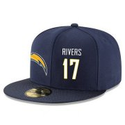 Wholesale Cheap San Diego Chargers #17 Philip Rivers Snapback Cap NFL Player Navy Blue with White Number Stitched Hat