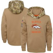 Wholesale Cheap Youth Denver Broncos Nike Khaki 2019 Salute to Service Therma Pullover Hoodie