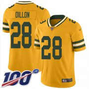 Wholesale Cheap Nike Packers #28 AJ Dillon Gold Youth Stitched NFL Limited Inverted Legend 100th Season Jersey
