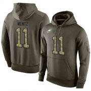 Wholesale Cheap NFL Men's Nike Philadelphia Eagles #11 Carson Wentz Stitched Green Olive Salute To Service KO Performance Hoodie