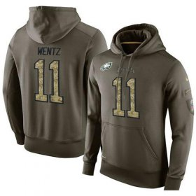 Wholesale Cheap NFL Men\'s Nike Philadelphia Eagles #11 Carson Wentz Stitched Green Olive Salute To Service KO Performance Hoodie