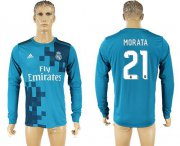 Wholesale Cheap Real Madrid #21 Morata Sec Away Long Sleeves Soccer Club Jersey