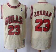 Wholesale Cheap Mitchell And Ness Bulls #23 Michael Jordan Cream Throwback Stitched NBA Jersey