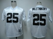 Wholesale Cheap Mitchell & Ness Raiders #25 Fred Biletnikoff White Stitched Throwback NFL Jersey