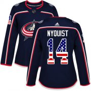Wholesale Cheap Adidas Blue Jackets #14 Gustav Nyquist Navy Blue Home Authentic USA Flag Women's Stitched NHL Jersey