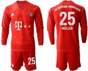Wholesale Cheap Bayern Munchen #25 Muller Home Long Sleeves Soccer Club Jersey