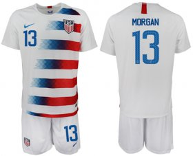 Wholesale Cheap USA #13 Morgan Home Soccer Country Jersey