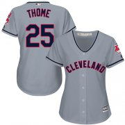 Wholesale Cheap Indians #25 Jim Thome Grey Road Women's Stitched MLB Jersey