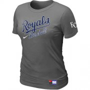 Wholesale Cheap Women's MLB Kansas City Royals Dark Grey Nike Short Sleeve Practice T-Shirt