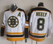 Wholesale Cheap Bruins #8 Cam Neely White/Black CCM Throwback Stitched NHL Jersey