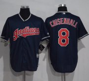 Wholesale Cheap Indians #8 Lonnie Chisenhall Navy Blue New Cool Base Stitched MLB Jersey