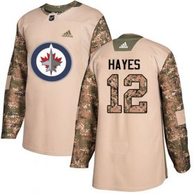 Wholesale Cheap Adidas Jets #12 Kevin Hayes Camo Authentic 2017 Veterans Day Stitched NHL Jersey