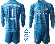 Wholesale Cheap Bayern Munchen #1 Neuer Light Blue Goalkeeper Long Sleeves Kid Soccer Club Jersey