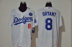 Wholesale Cheap Los Angeles Dodgers #8 Kobe Bryant Men\'s Nike White Cool Base KB Patch MLB Jersey