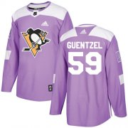 Wholesale Cheap Adidas Penguins #59 Jake Guentzel Purple Authentic Fights Cancer Stitched Youth NHL Jersey