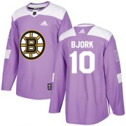 Wholesale Cheap Adidas Bruins #10 Anders Bjork Purple Authentic Fights Cancer Stitched NHL Jersey