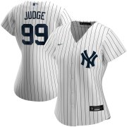 Wholesale Cheap New York Yankees #99 Aaron Judge Nike Women's Home 2020 MLB Player Name Jersey White