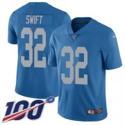 Wholesale Cheap Nike Lions #32 D'Andre Swift Blue Throwback Youth Stitched NFL 100th Season Vapor Untouchable Limited Jersey