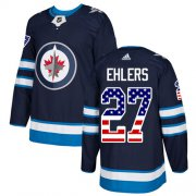 Wholesale Cheap Adidas Jets #27 Nikolaj Ehlers Navy Blue Home Authentic USA Flag Stitched NHL Jersey