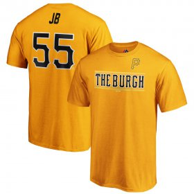 Wholesale Cheap Pittsburgh Pirates #55 Josh Bell JB Majestic 2019 MLB Little League Classic Name & Number T-Shirt Gold