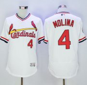 Wholesale Cheap Cardinals #4 Yadier Molina White Flexbase Authentic Collection Cooperstown Stitched MLB Jersey