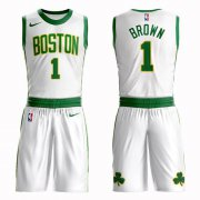 Wholesale Cheap Boston Celtics #1 Walter Brown White Nike NBA Men's City Edition Suit Authentic Jersey