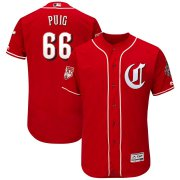 Wholesale Cheap Reds #66 Yasiel Puig Red 2019 Spring Training Flex Base Stitched MLB Jersey