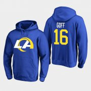 Wholesale Cheap Los Angeles Rams #16 Jared Goff Men's 2020 New Logo Royal Pullover Hoodie