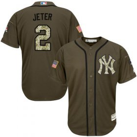 Wholesale Yankees #2 Derek Jeter Green Salute to Service Stitched Youth Baseball Jersey