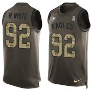 Wholesale Cheap Nike Eagles #92 Reggie White Green Men's Stitched NFL Limited Salute To Service Tank Top Jersey