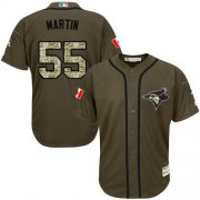 Wholesale Blue Jays #55 Russell Martin Green Salute to Service Stitched Youth Baseball Jersey