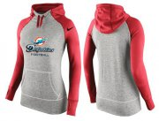 Wholesale Cheap Women's Nike Miami Dolphins Performance Hoodie Grey & Red