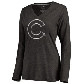 Wholesale Cheap Women\'s Chicago Cubs Platinum Collection Long Sleeve V-Neck Tri-Blend T-Shirt Black