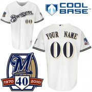 Wholesale Cheap Brewers Personalized Authentic White Cool Base w/40th Anniversary Patch MLB Jersey (S-3XL)