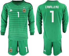 Wholesale Cheap Argentina #1 Caballero Green Long Sleeves Goalkeeper Soccer Country Jersey