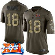 Wholesale Cheap Nike Colts #18 Peyton Manning Green Super Bowl XLI Men's Stitched NFL Limited Salute to Service Jersey