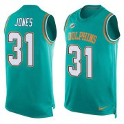 Wholesale Cheap Nike Dolphins #31 Byron Jones Aqua Green Team Color Men's Stitched NFL Limited Tank Top Jersey