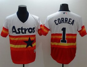 Wholesale Astros #1 Carlos Correa White/Orange Flexbase Authentic Collection Cooperstown Stitched Baseball Jersey