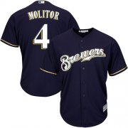 Wholesale Cheap Brewers #4 Paul Molitor Navy blue Cool Base Stitched Youth MLB Jersey