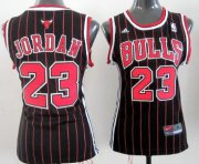 Wholesale Cheap Chicago Bulls #23 Michael Jordan Black Pinstripe Womens Jersey
