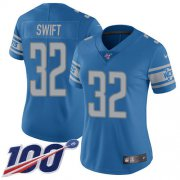 Wholesale Cheap Nike Lions #32 D'Andre Swift Blue Team Color Women's Stitched NFL 100th Season Vapor Untouchable Limited Jersey