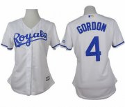 Wholesale Cheap Royals #4 Alex Gordon White Home Women's Stitched MLB Jersey