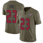 Wholesale Cheap Nike Texans #23 Carlos Hyde Olive Men's Stitched NFL Limited 2017 Salute To Service Jersey