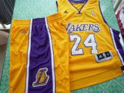 Wholesale Cheap Los Angeles Lakers 24 Kobe Bryant yellow swingman Basketball Suit