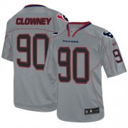 Wholesale Cheap Nike Texans #90 Jadeveon Clowney Lights Out Grey Youth Stitched NFL Elite Jersey