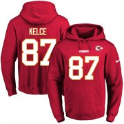 Wholesale Cheap Nike Chiefs #87 Travis Kelce Red Name & Number Pullover NFL Hoodie