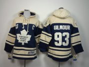 Wholesale Maple Leafs #93 Doug Gilmour Blue Sawyer Hooded Sweatshirt Stitched Youth NHL Jersey
