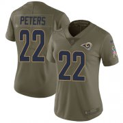 Wholesale Cheap Nike Rams #22 Marcus Peters Olive Women's Stitched NFL Limited 2017 Salute to Service Jersey