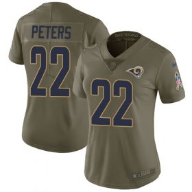 Wholesale Cheap Nike Rams #22 Marcus Peters Olive Women\'s Stitched NFL Limited 2017 Salute to Service Jersey