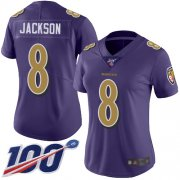 Wholesale Cheap Nike Ravens #8 Lamar Jackson Purple Women's Stitched NFL Limited Rush 100th Season Jersey